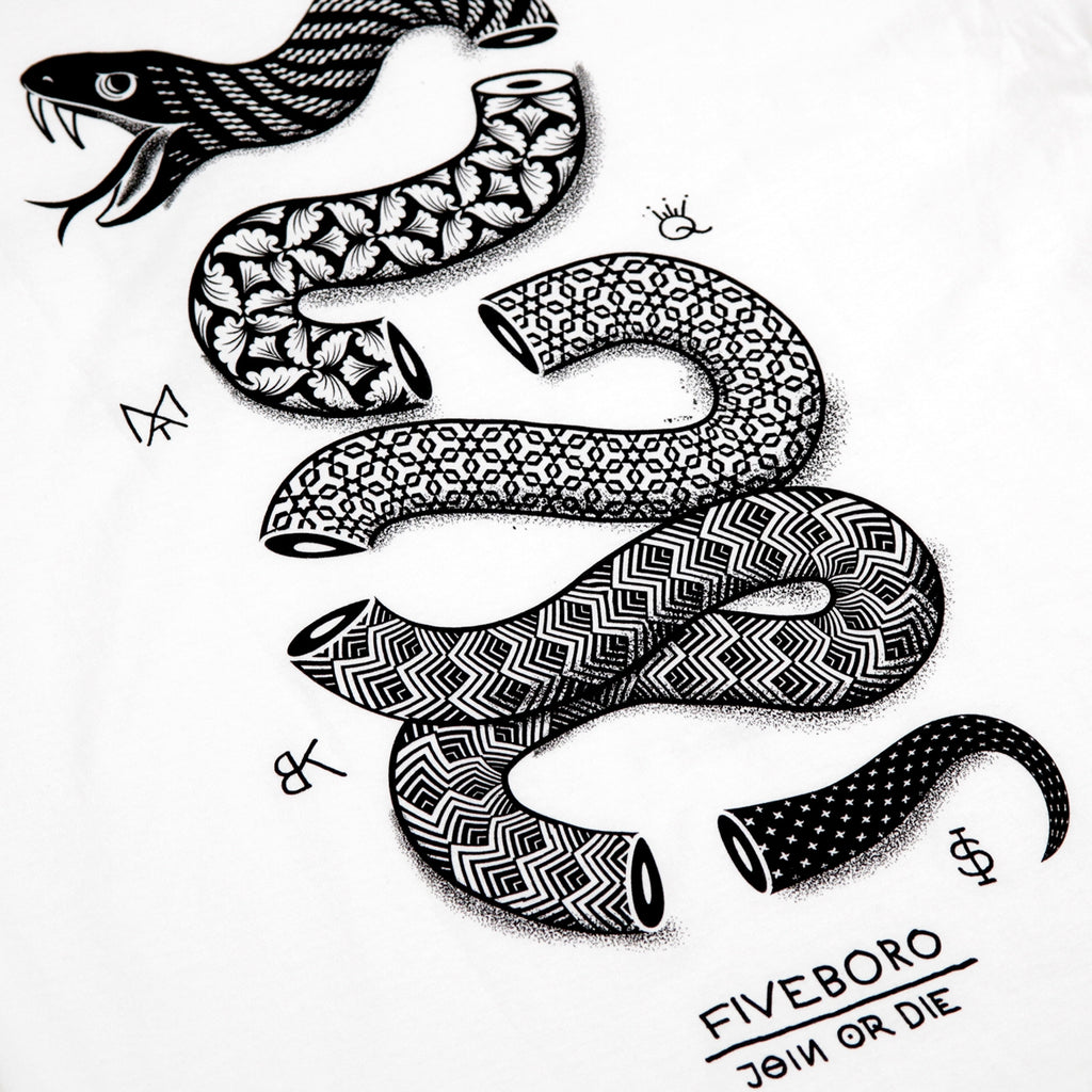 5Boro Join Or Die II T Shirt in White - Back Print