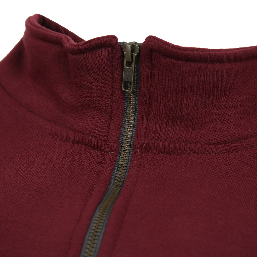 Signature Clothing Classic Logo Embroidered 1/4 Zip in Maroon - Zip