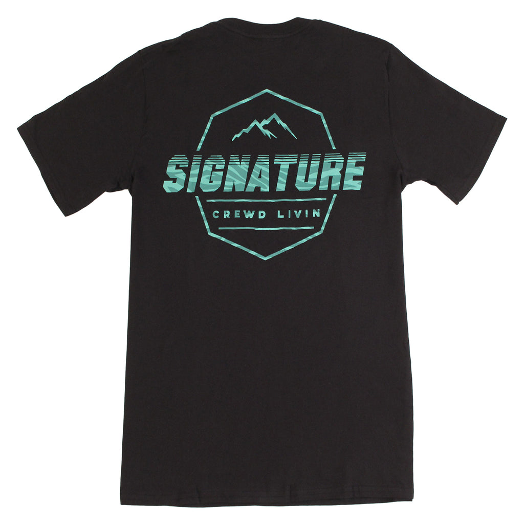Signature Clothing Jungle Mach Peak T Shirt in Black / Teal