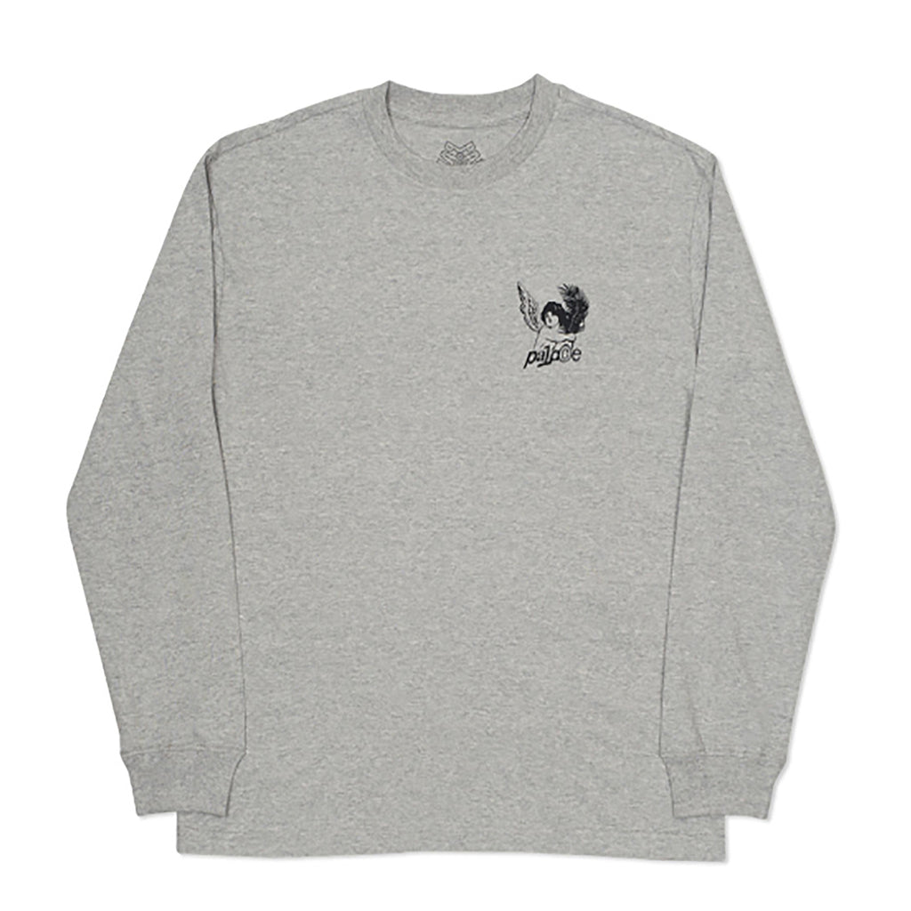 Palace Tropical Cherub L/S T Shirt in Grey Marl - Front