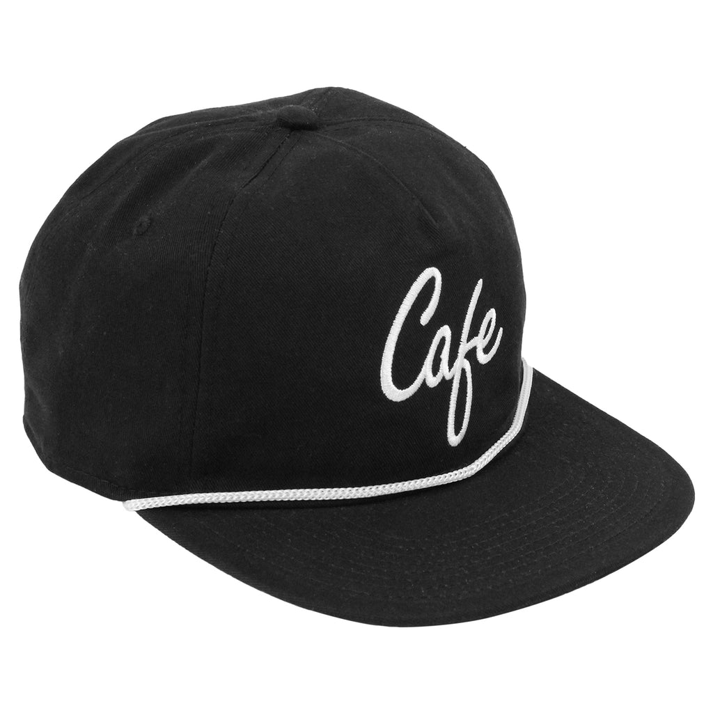 Skateboard Cafe Script Lace Snapback Cap in Black / White