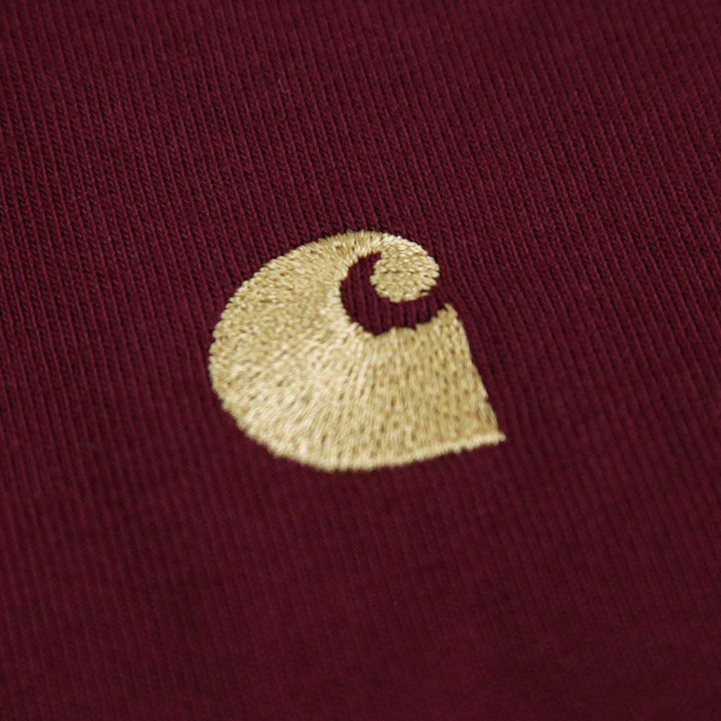 Carhartt L/S Chase T Shirt in Mulberry / Gold - C Logo