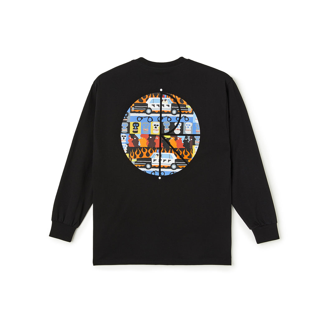 Polar Skate Co L/S ACAB Fill Logo T Shirt in Black
