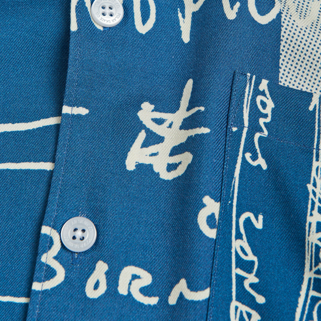 Polar Skate Co Strongest Notes Art Shirt in Blue - Detail