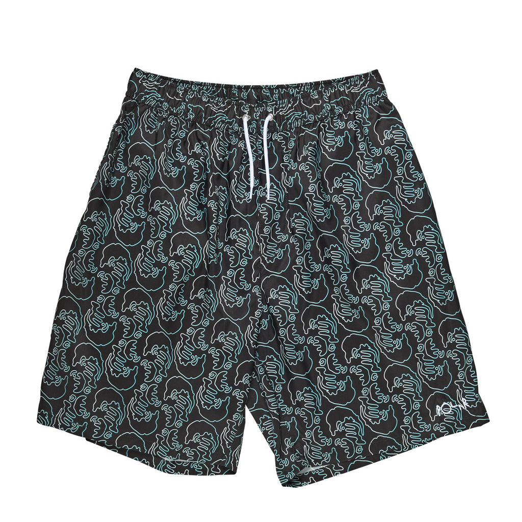 Polar Skate Co Faces Art Swim Shorts in Black
