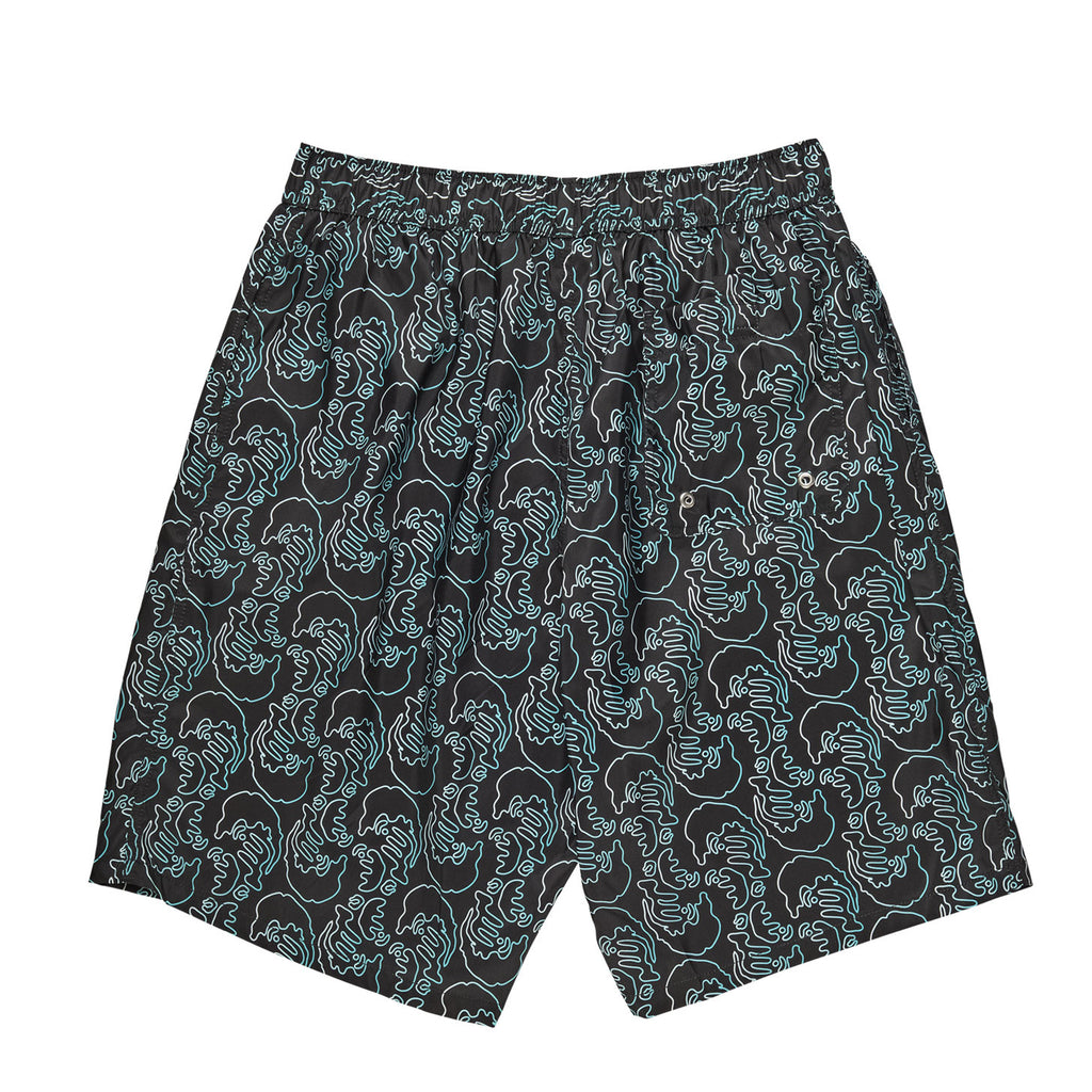 Polar Skate Co Faces Art Swim Shorts in Black - Back