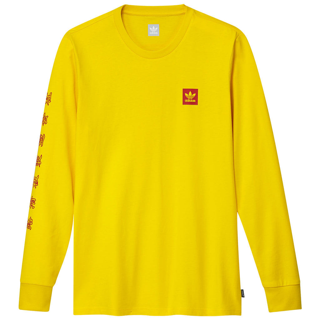 Adidas x Evisen L/S T Shirt in Yellow / Scarlet
