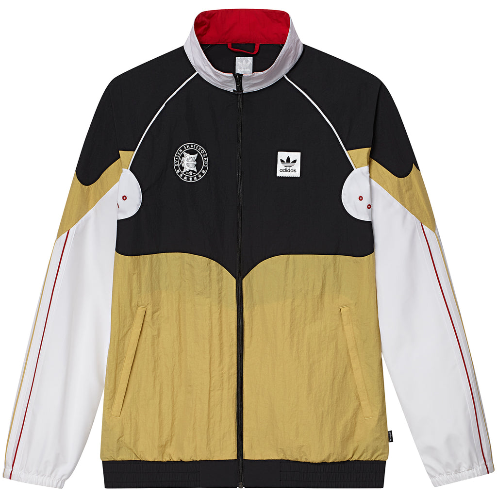 Adidas x Evisen Track Jacket in Black / White / Pyrite / Scarlet