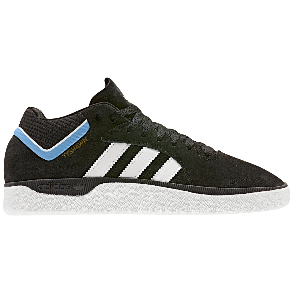 Adidas Skateboarding Tyshawn Shoes in Core Black / Footwear White / Light Blue