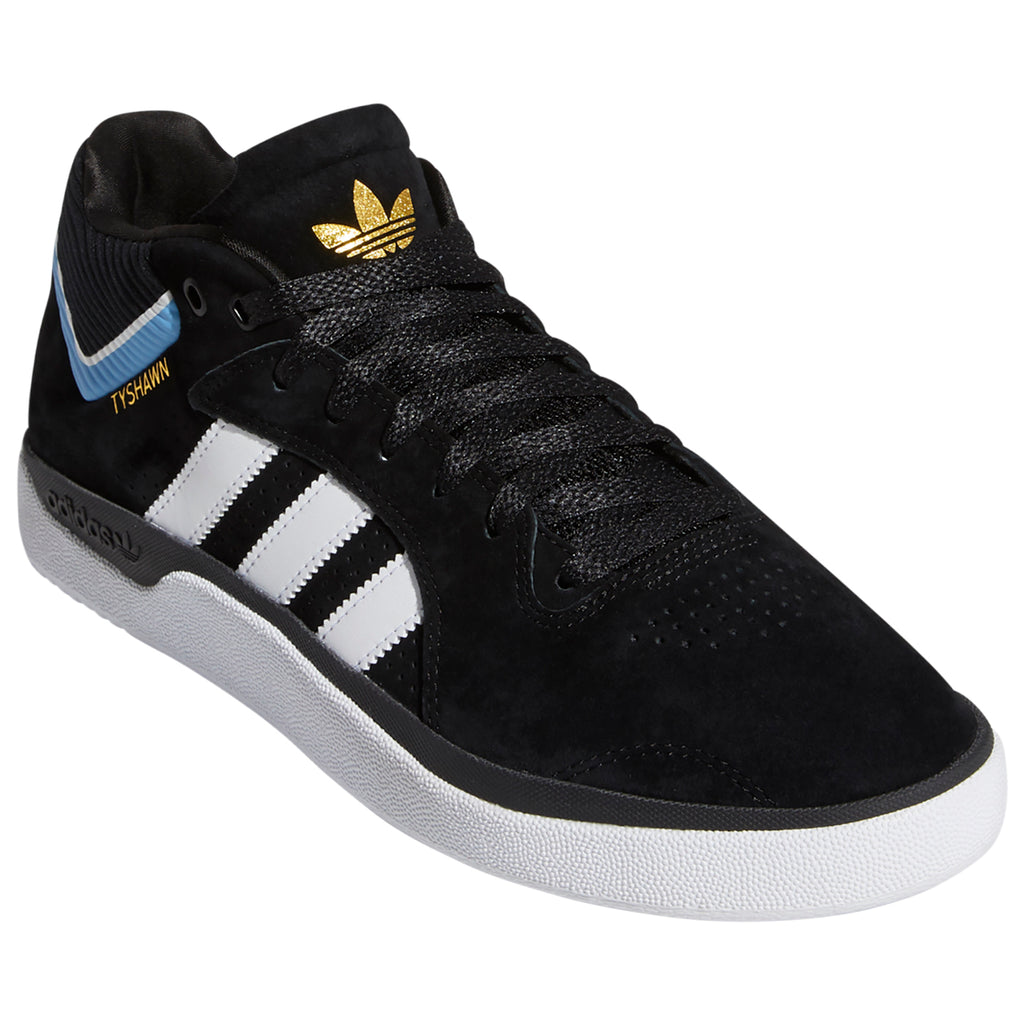 Adidas Skateboarding Tyshawn Shoes in Core Black / Footwear White / Light Blue - Front