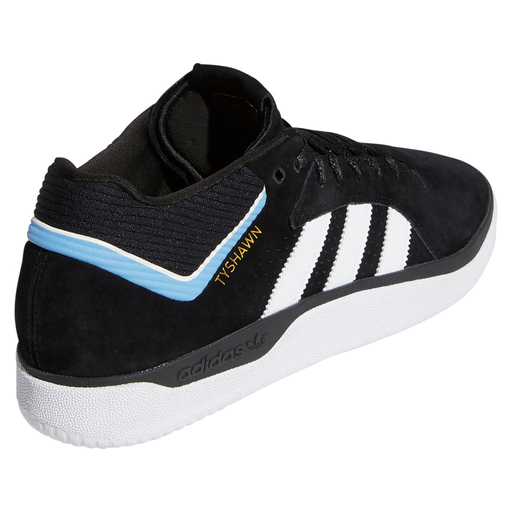 Adidas Skateboarding Tyshawn Shoes in Core Black / Footwear White / Light Blue - Side
