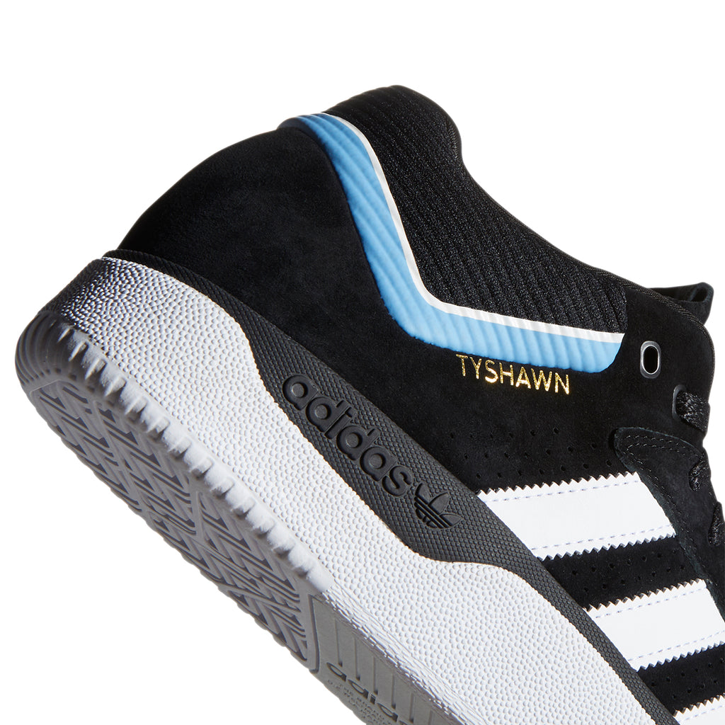 Adidas Skateboarding Tyshawn Shoes in Core Black / Footwear White / Light Blue - Heel