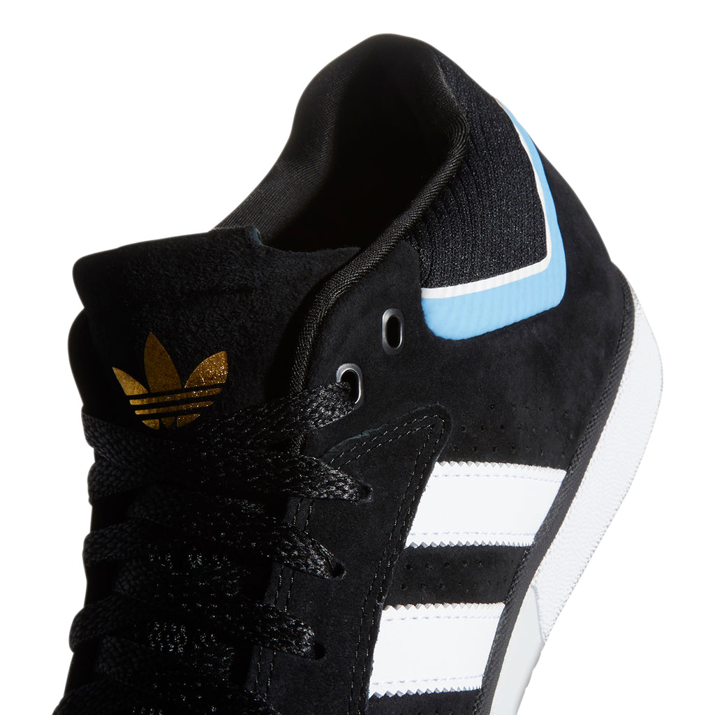 Adidas Skateboarding Tyshawn Shoes in Core Black / Footwear White / Light Blue - Heel 2
