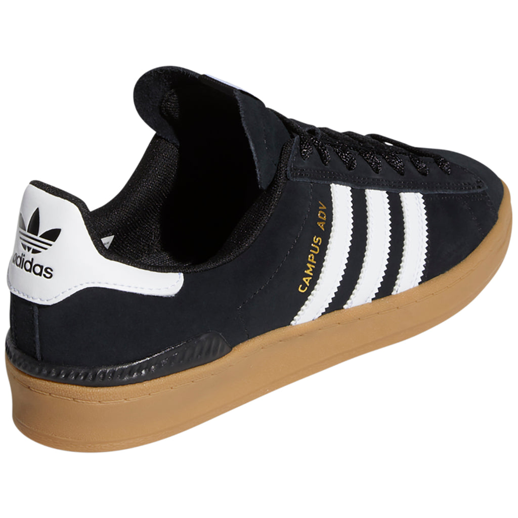 Adidas Campus ADV Shoes in Core Black / Footwear White / Gum 4 - Back angle