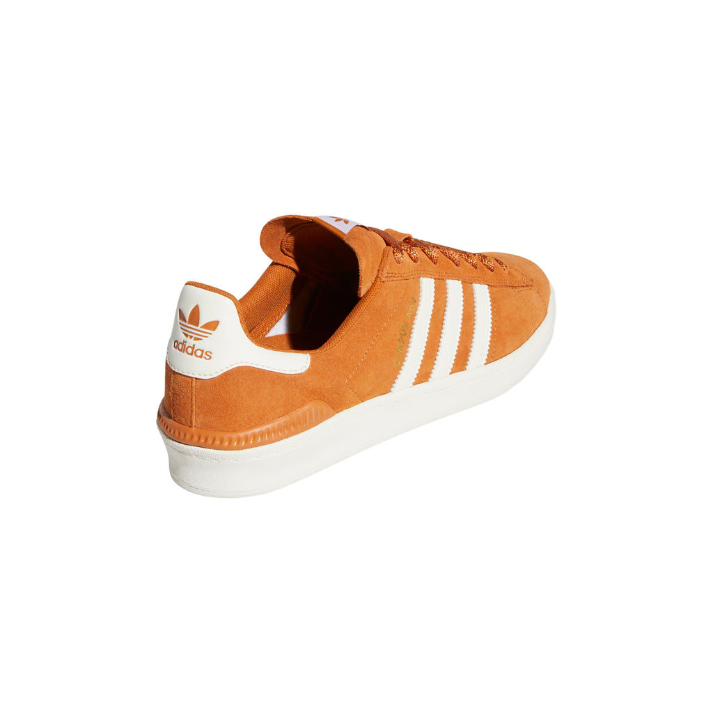 Adidas Campus ADV Shoes in Tech Copper / Chalk White / Gold Metallic - Heel 2