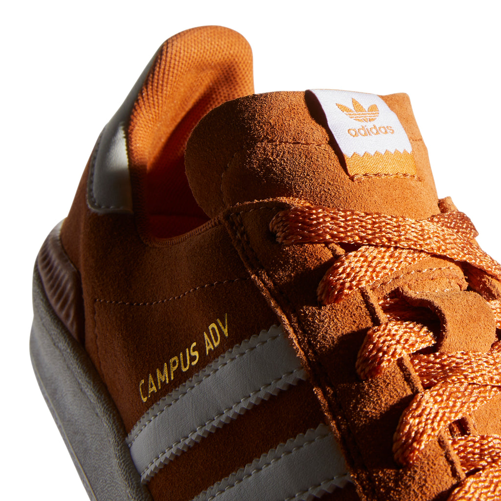 Adidas Campus ADV Shoes in Tech Copper / Chalk White / Gold Metallic - Detail