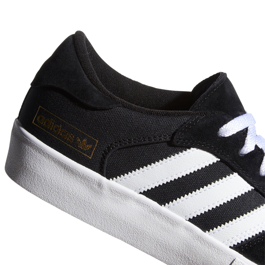 Adidas Skateboarding Matchbreak Super Shoes in Core Black / Footwear White / Gold Metallic - Heel