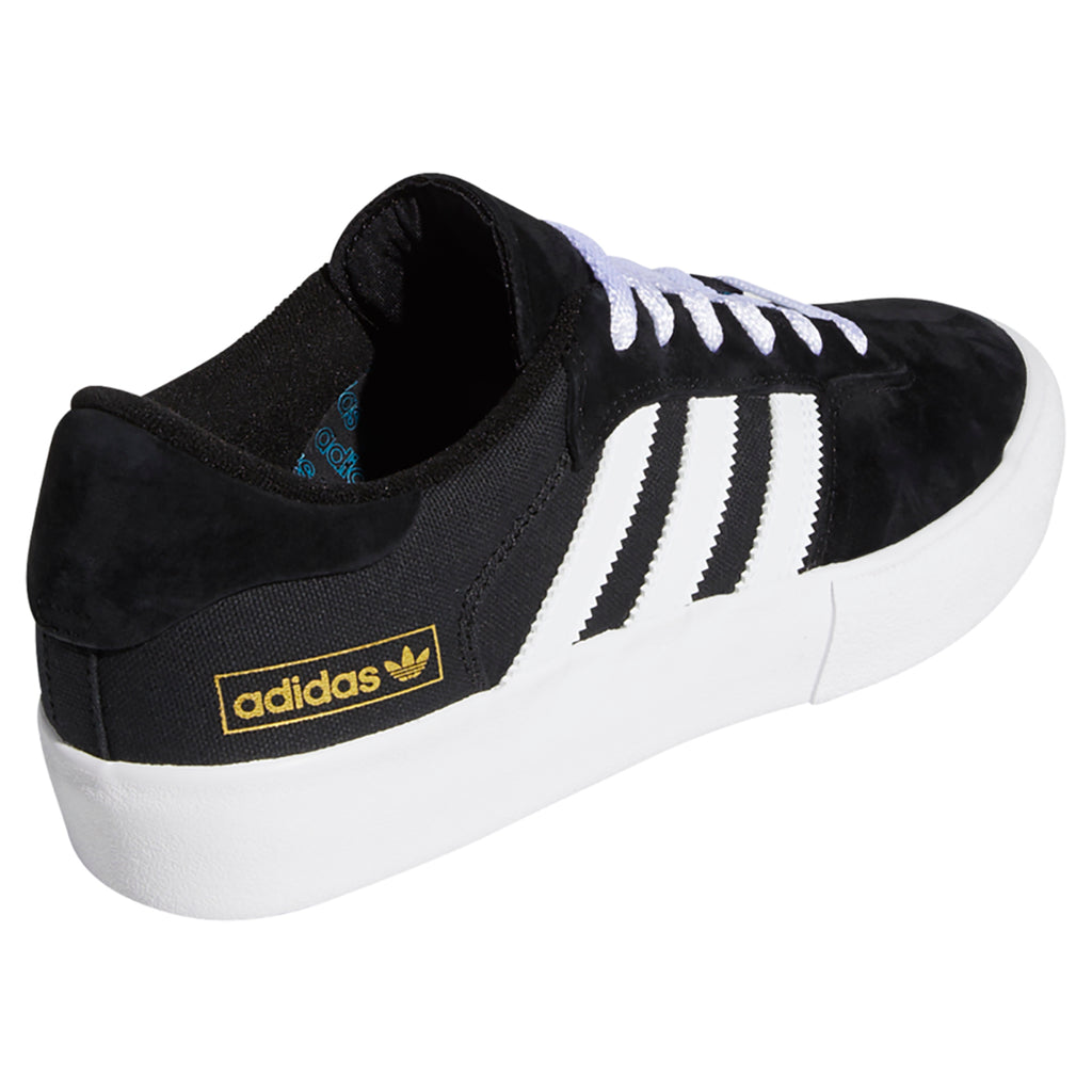 Adidas Skateboarding Matchbreak Super Shoes in Core Black / Footwear White / Gold Metallic - Side