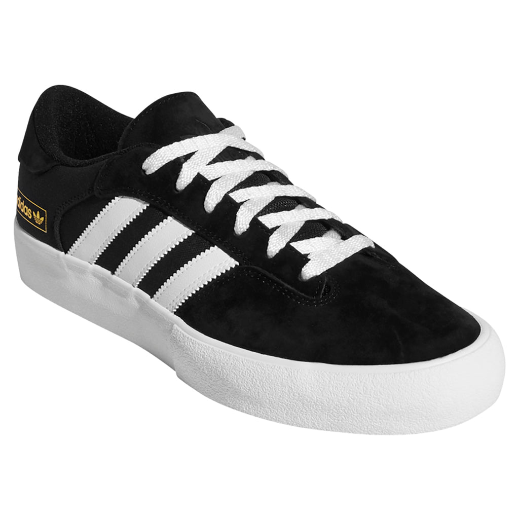 Adidas Skateboarding Matchbreak Super Shoes in Core Black / Footwear White / Gold Metallic - Front