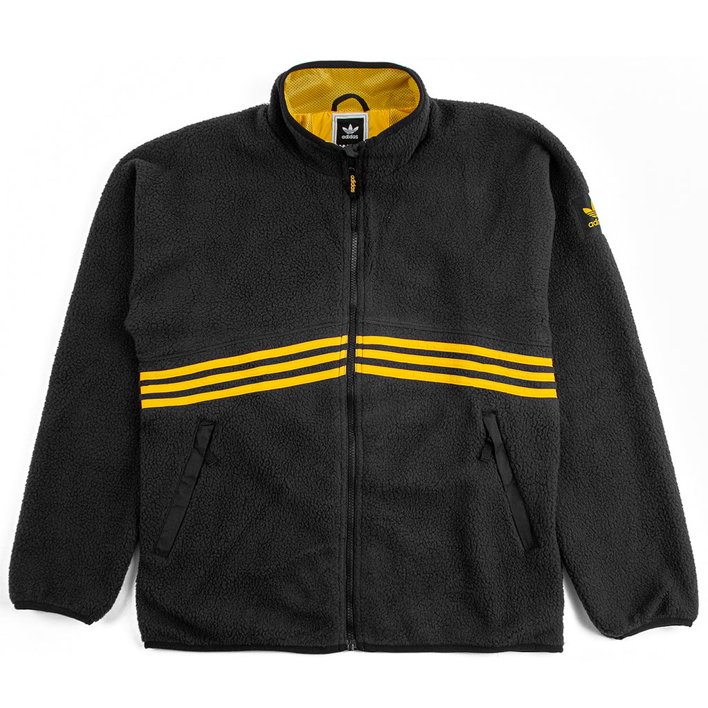 Adidas Sherpa Full Zip Jacket in Black / Active Gold