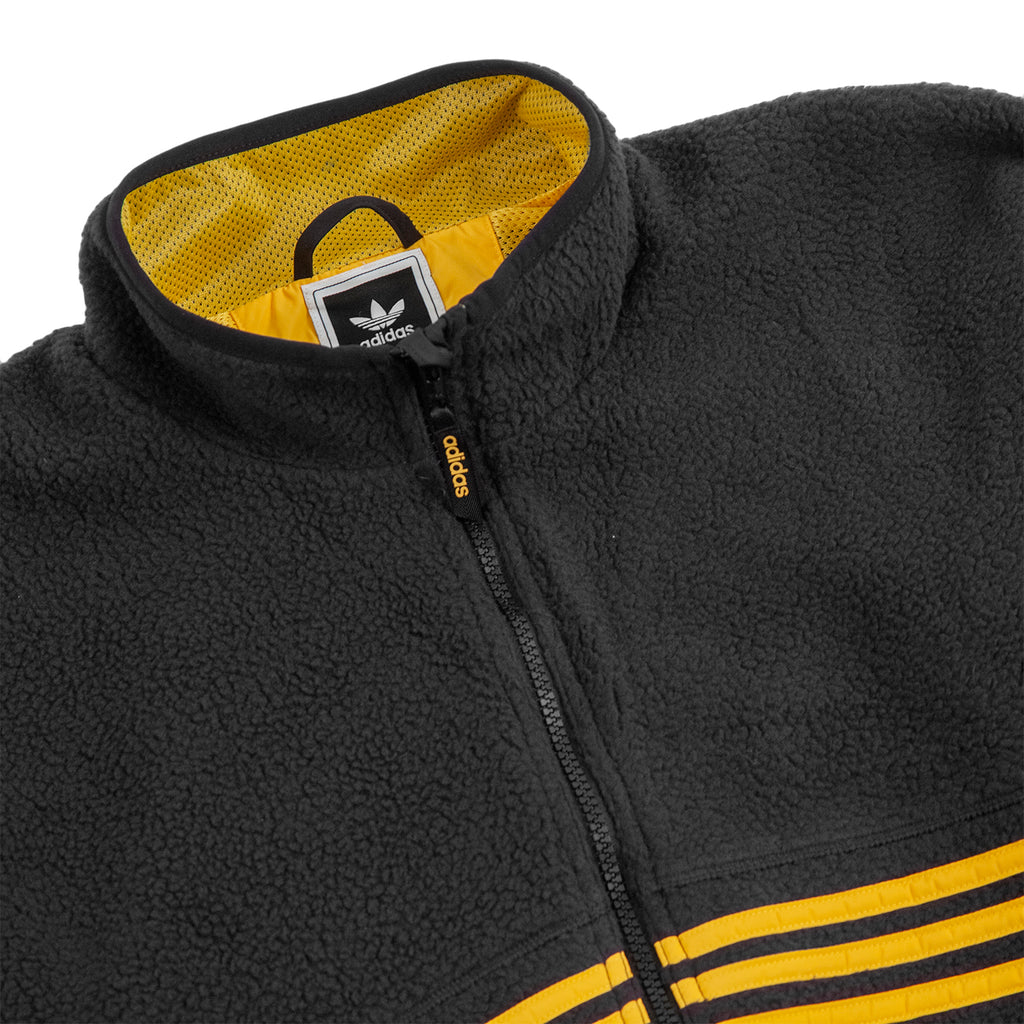 Adidas Sherpa Full Zip Jacket in Black / Active Gold - Detail