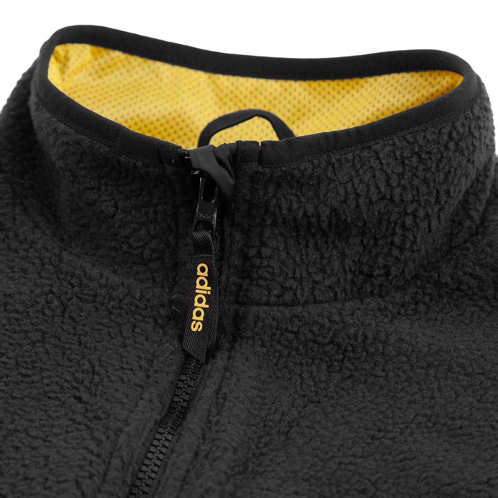 Adidas Sherpa Full Zip Jacket in Black / Active Gold - Collar