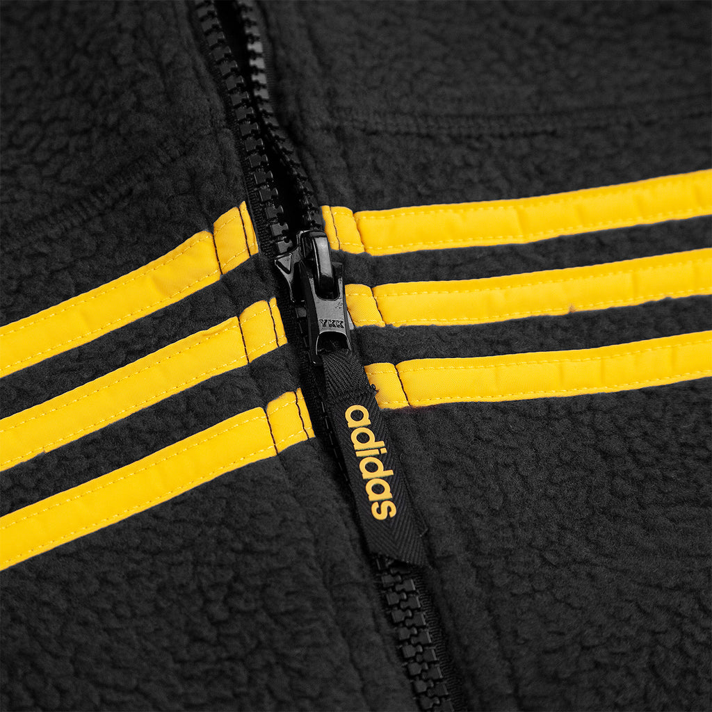 Adidas Sherpa Full Zip Jacket in Black / Active Gold - Zip