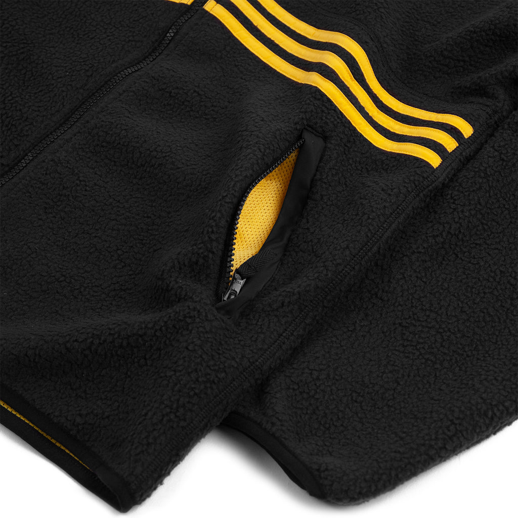 Adidas Sherpa Full Zip Jacket in Black / Active Gold - Pocket