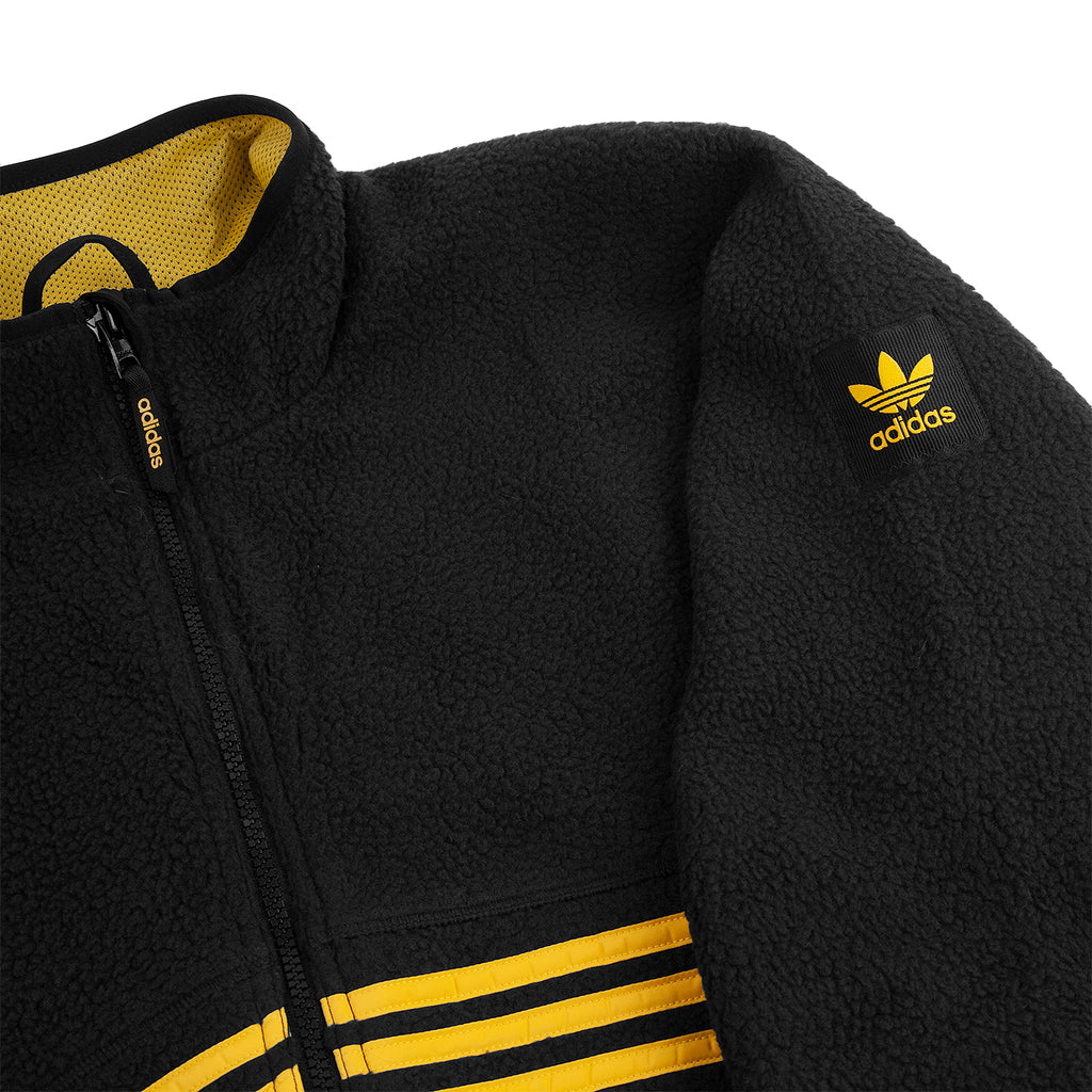 Adidas Sherpa Full Zip Jacket in Black / Active Gold - Arm