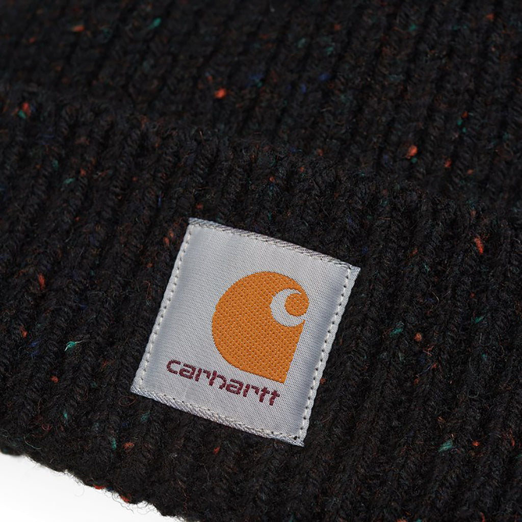 Carhartt WIP Anglistic Beanie in Black Heather - Label