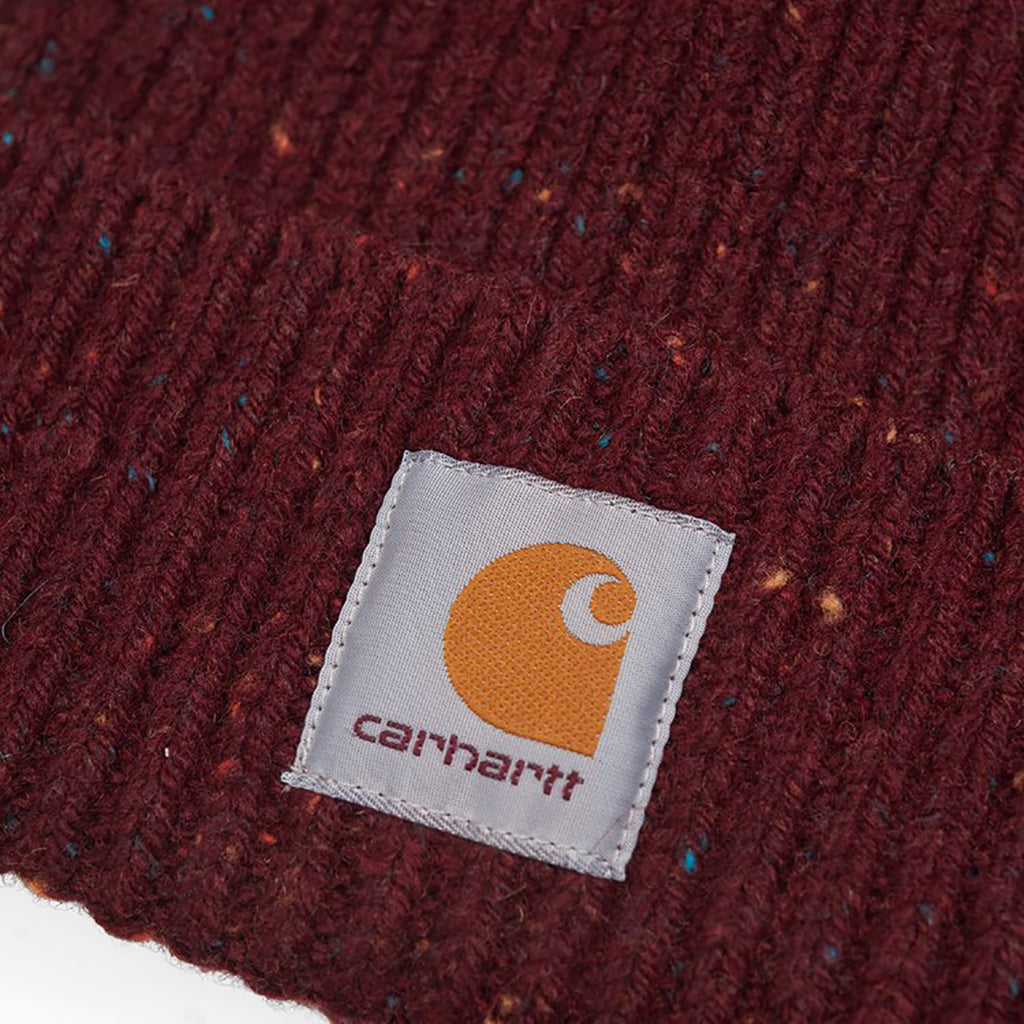 Carhartt WIP Anglistic Beanie in Bordeaux Heather - Label