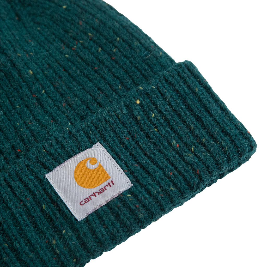 Carhartt WIP Anglistic Beanie in Dark Fir Heather - Detail