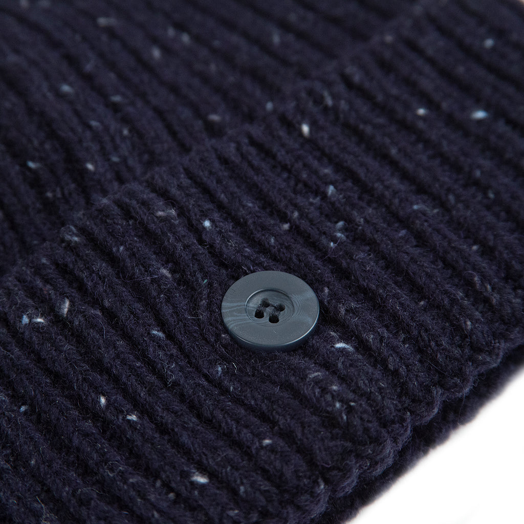 Carhartt WIP Anglistic Beanie in Dark Navy Heather - Button