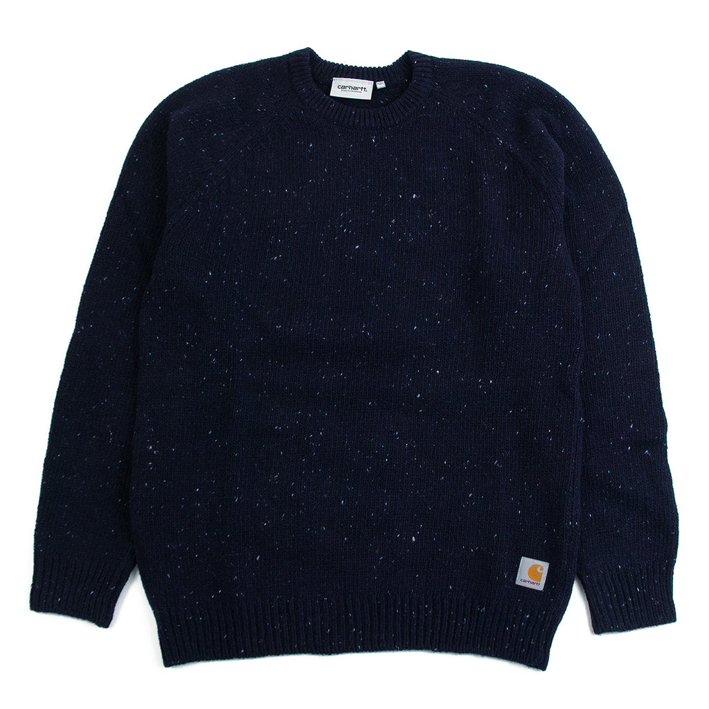 Carhartt WIP Anglistic Sweater in Dark Navy Heather