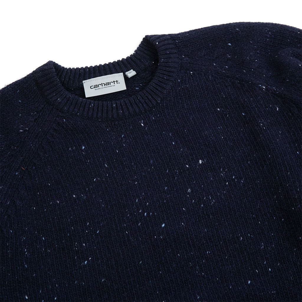 Carhartt WIP Anglistic Sweater in Dark Navy Heather - Detail