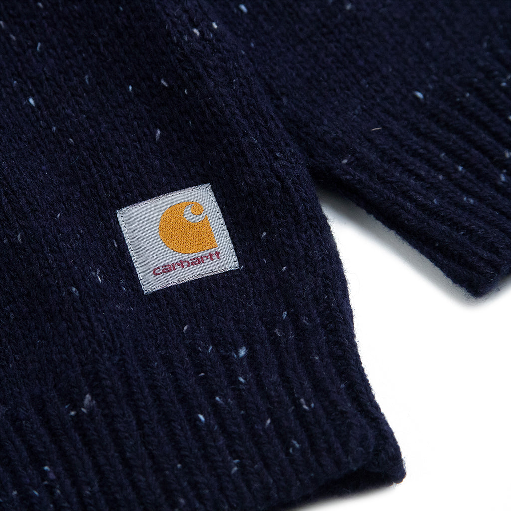 Carhartt WIP Anglistic Sweater in Dark Navy Heather - Label