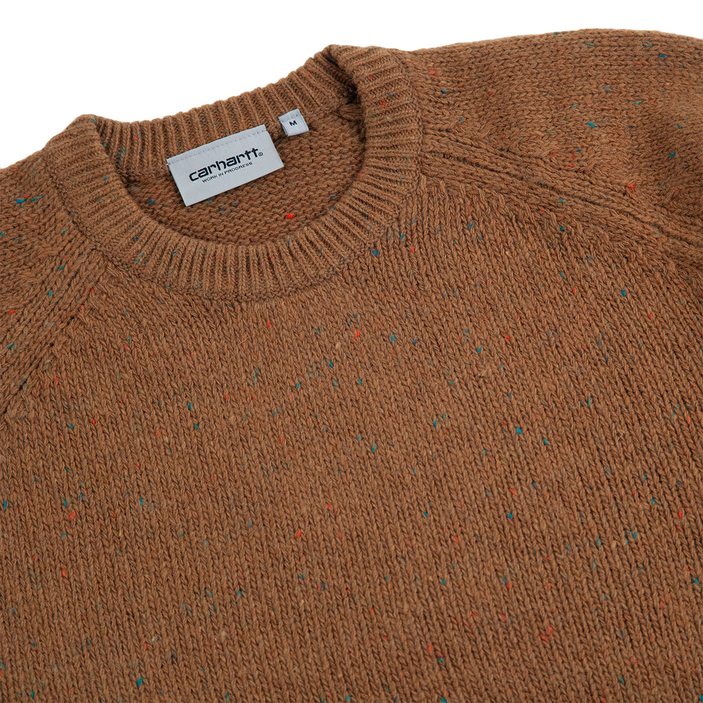 Carhartt Anglistic Sweater in Hamilton Brown - Detail
