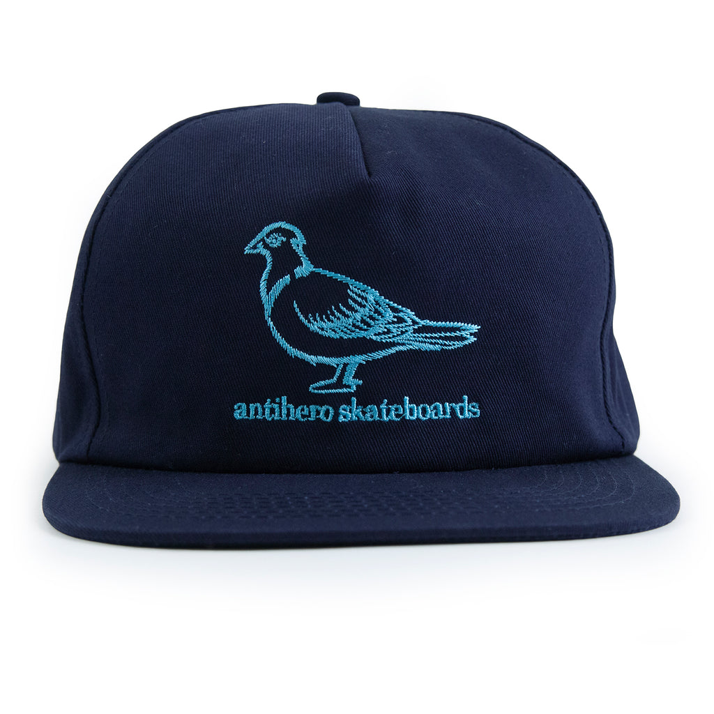 Anti Hero Lil Pigeon Snapback Cap in Navy / Light Blue - Front