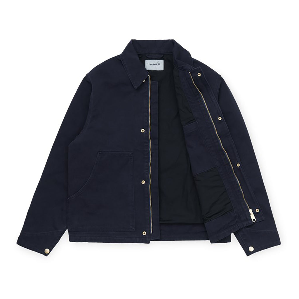 Carhartt WIP Arcan Jacket in Dark Navy Rinsed - Open