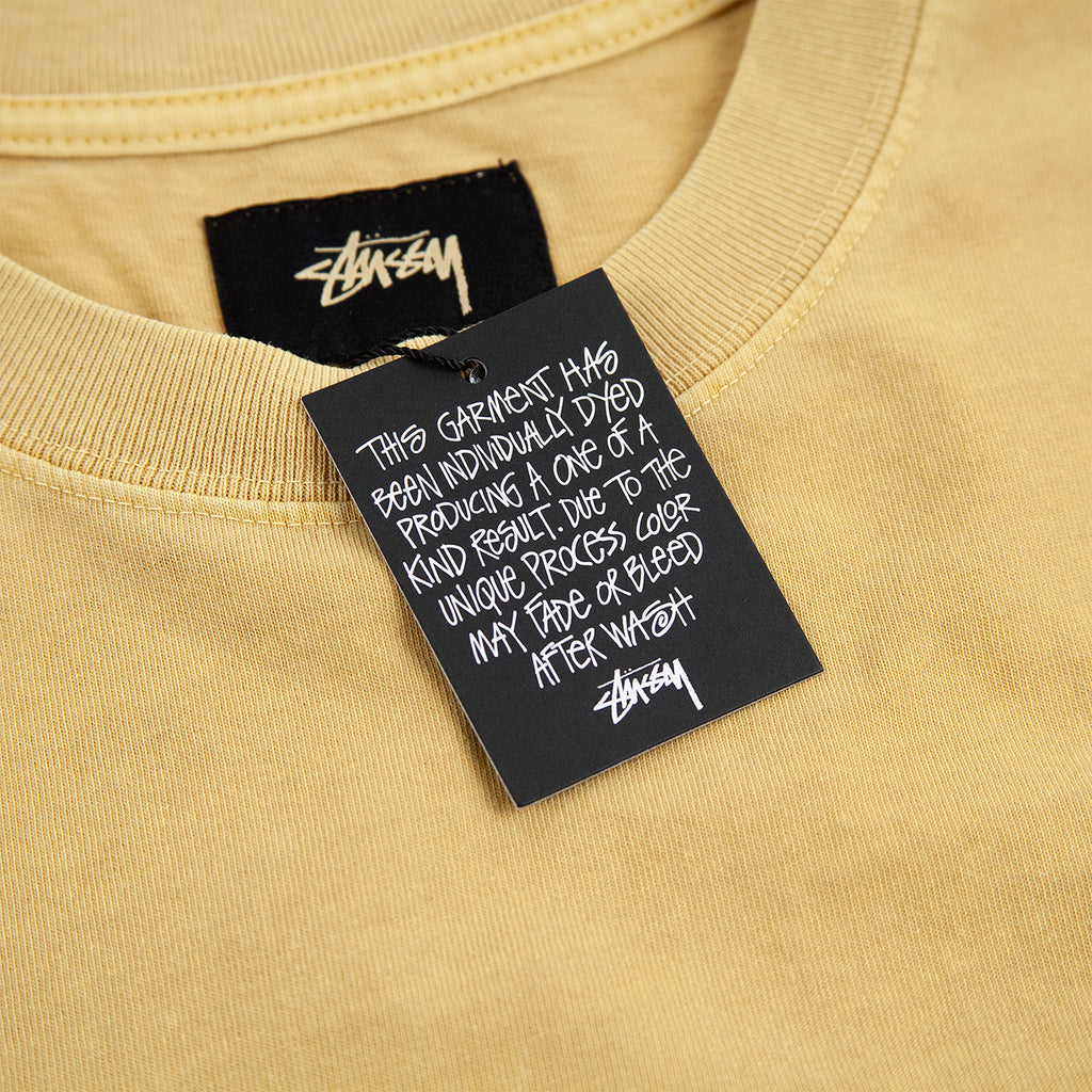 Stussy L/S Arch Crew T Shirt in Mustard - Label