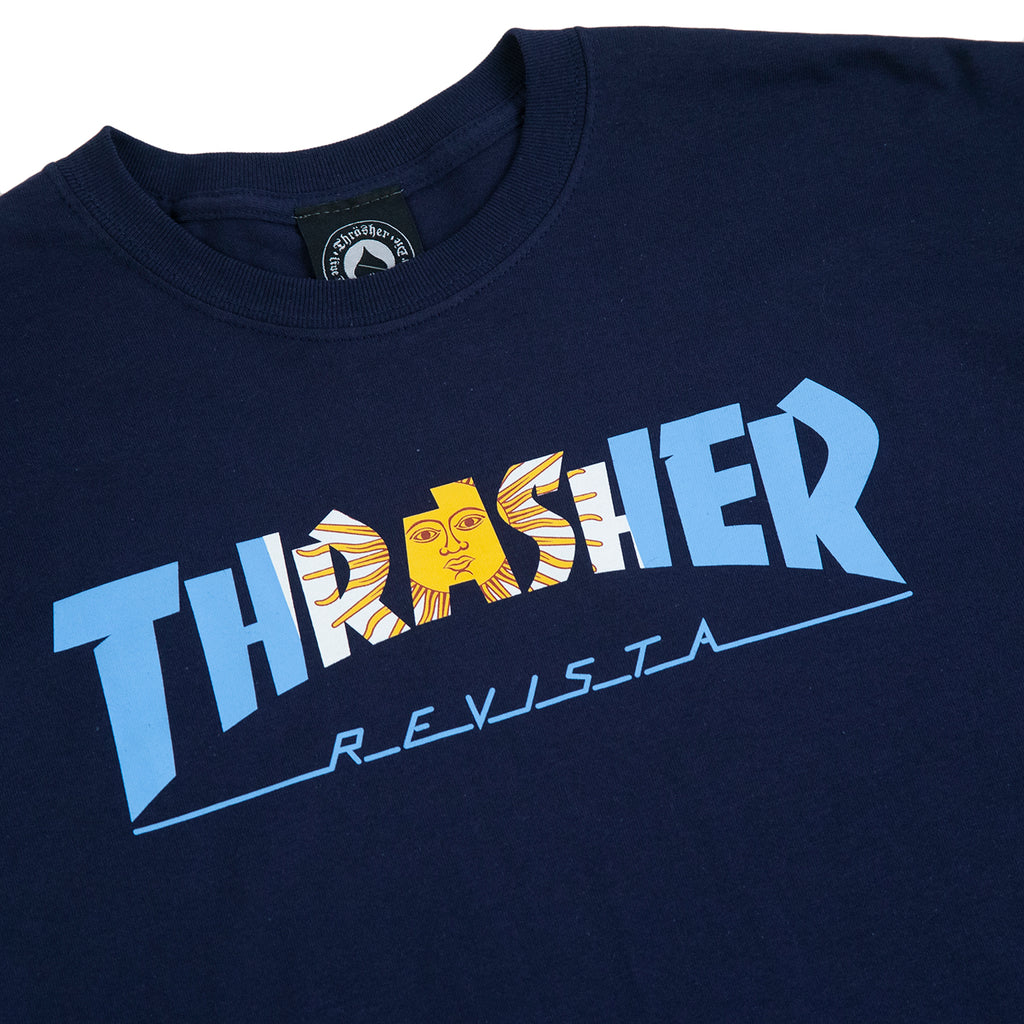 Thrasher Argentina T Shirt in Navy - Detail