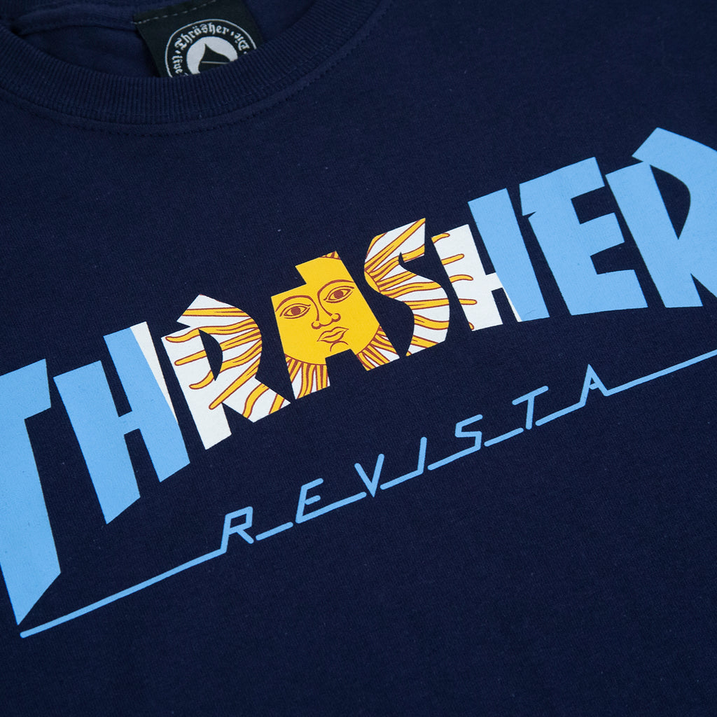 Thrasher Argentina T Shirt in Navy - Print