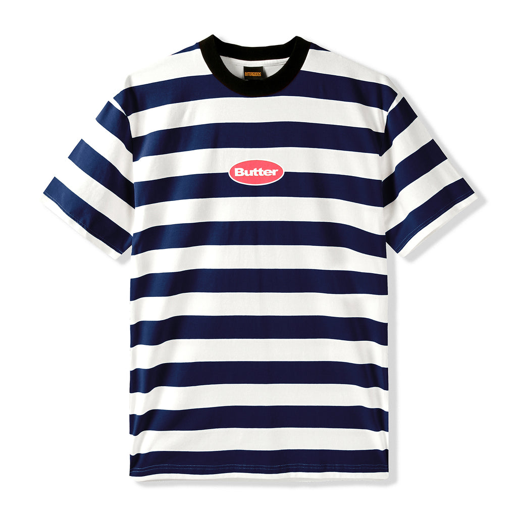 Butter Goods Badge Stripe T Shirt - Navy