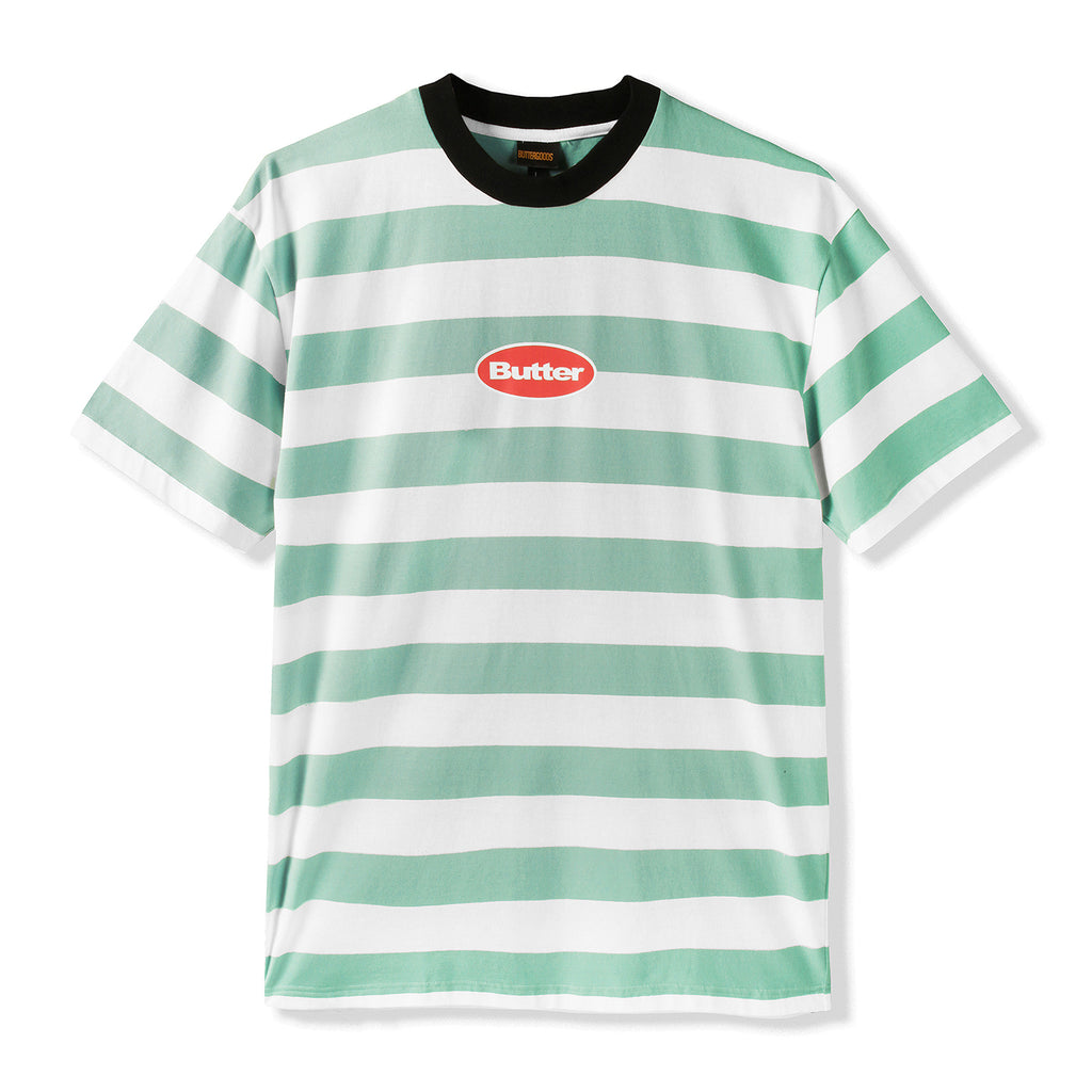 Butter Goods Badge Stripe T Shirt in Ice