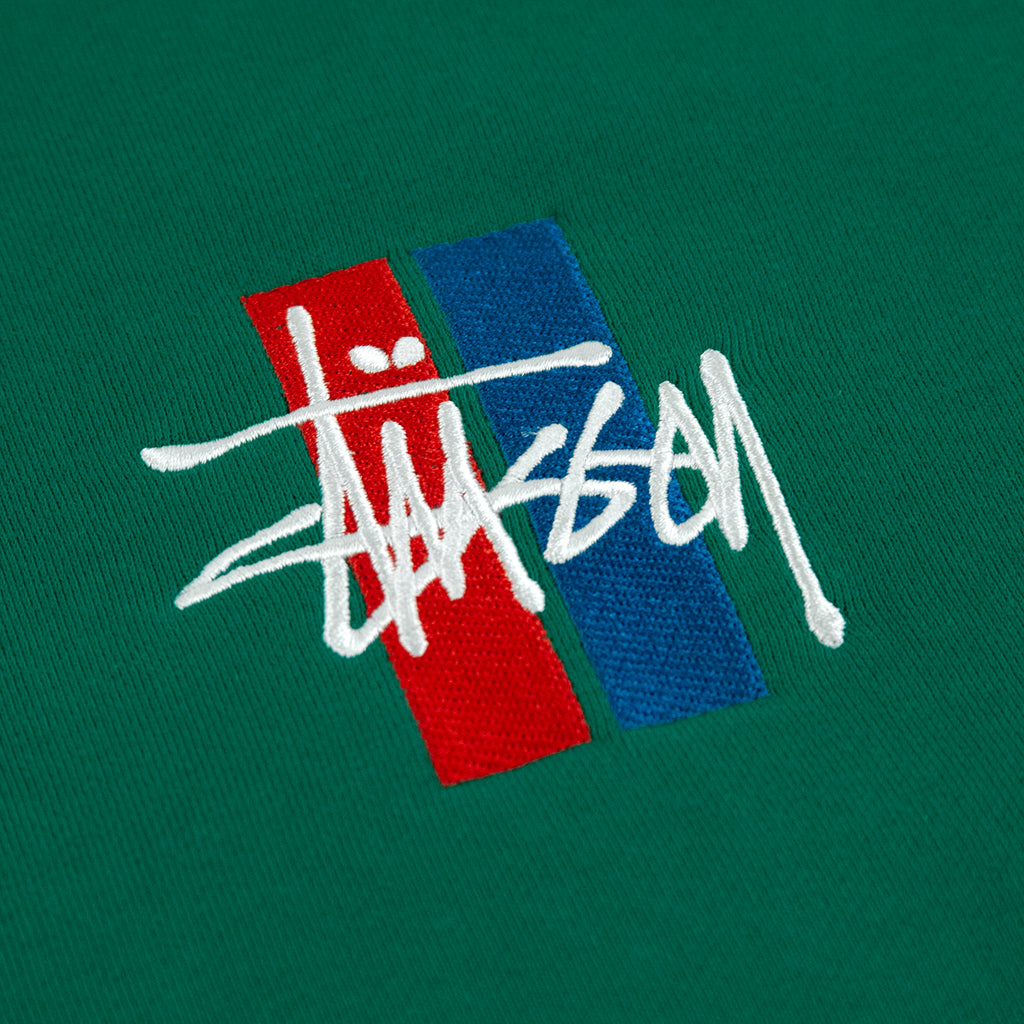 Stussy 2 Bar Stock Applique Crew Sweatshirt in Green - Embroidery
