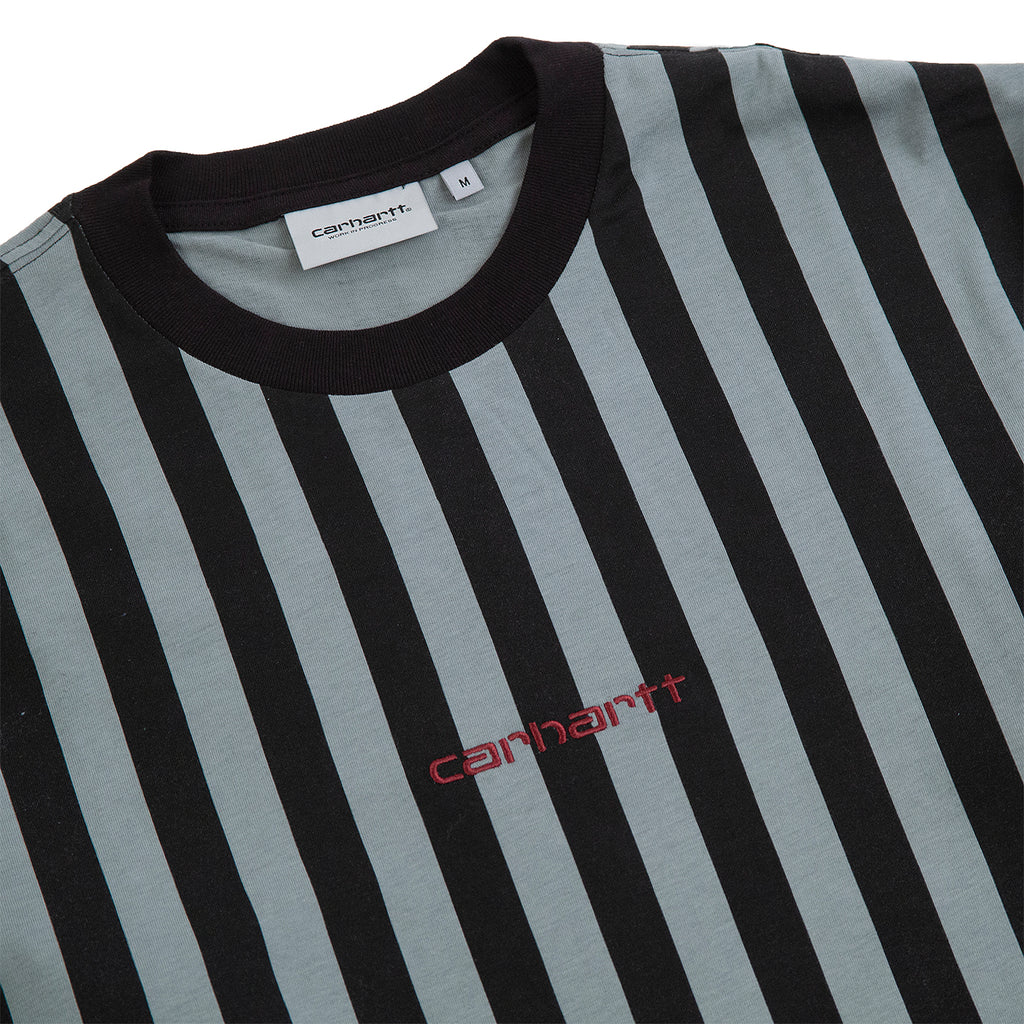 Carhartt WIP L/S Barnett T Shirt in Barnett Stripe Black / Cloudy - Detail
