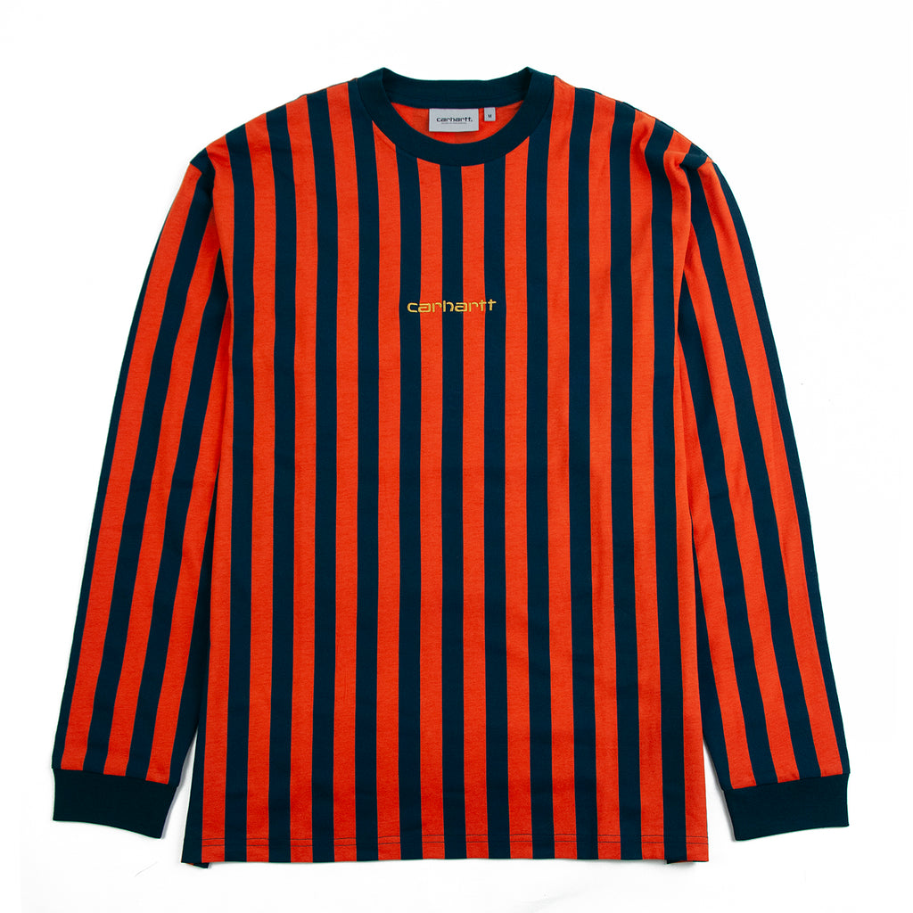 Carhartt WIP L/S Barnett T Shirt in Barnett Stripe Brick Orange / Duck Blue