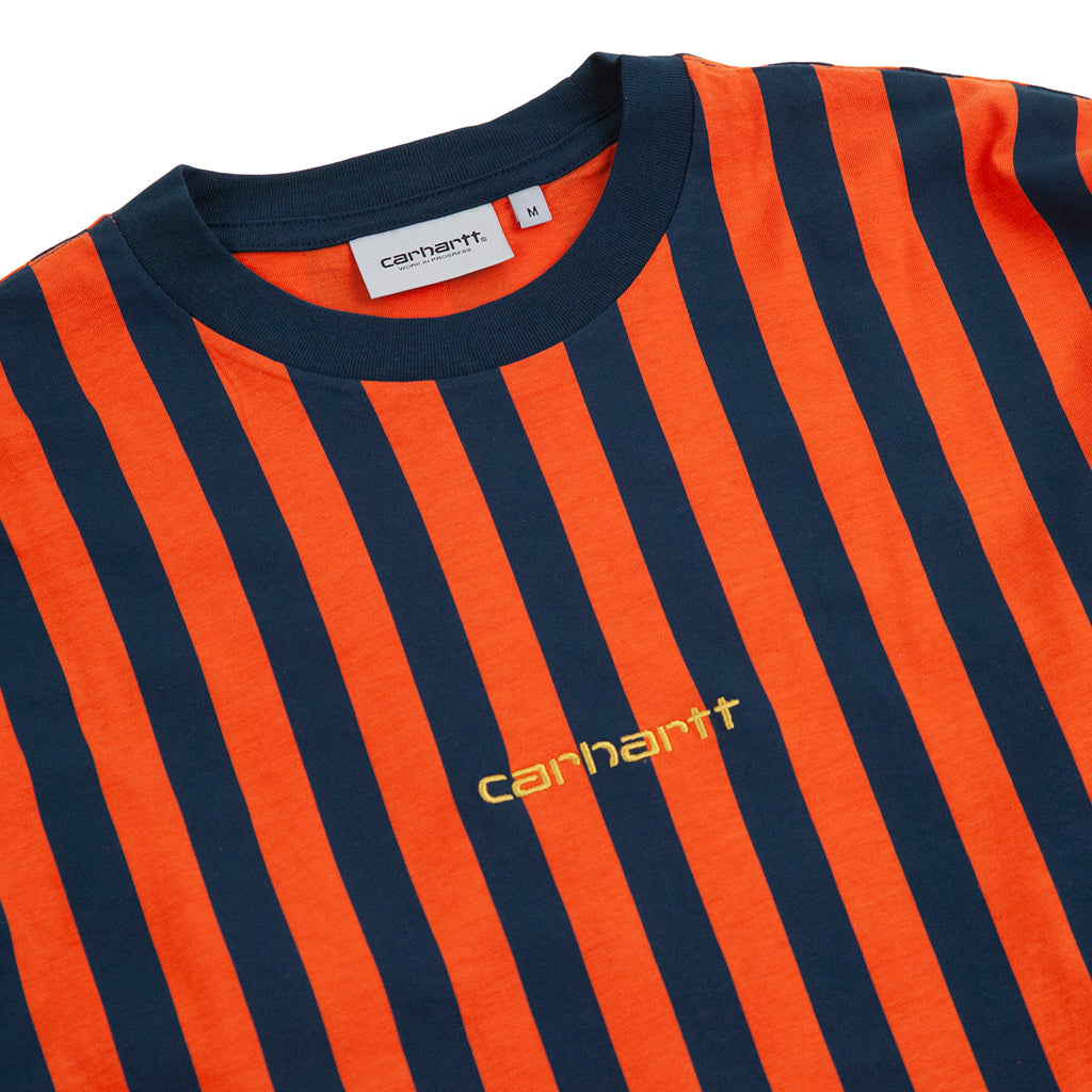 Carhartt WIP L/S Barnett T Shirt in Barnett Stripe Brick Orange / Duck Blue - Detail