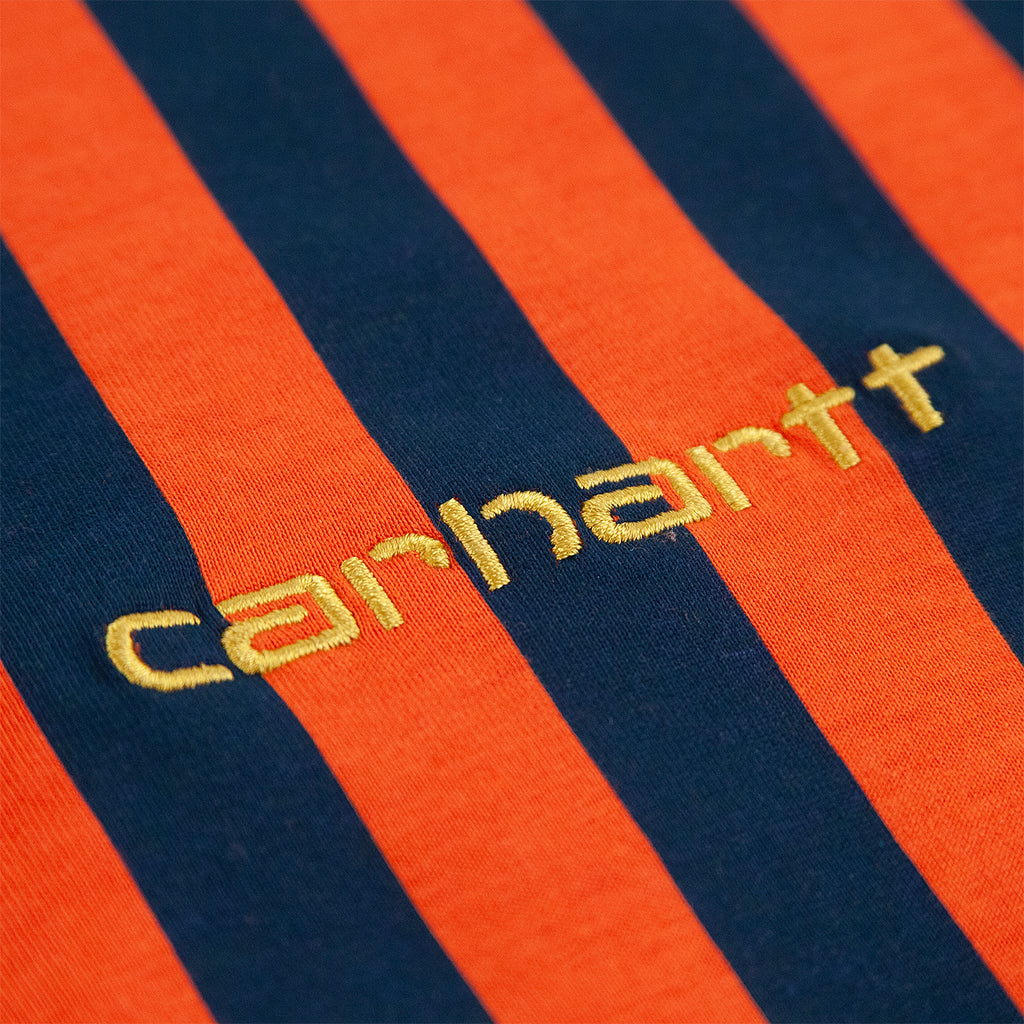 Carhartt WIP L/S Barnett T Shirt in Barnett Stripe Brick Orange / Duck Blue - Logo