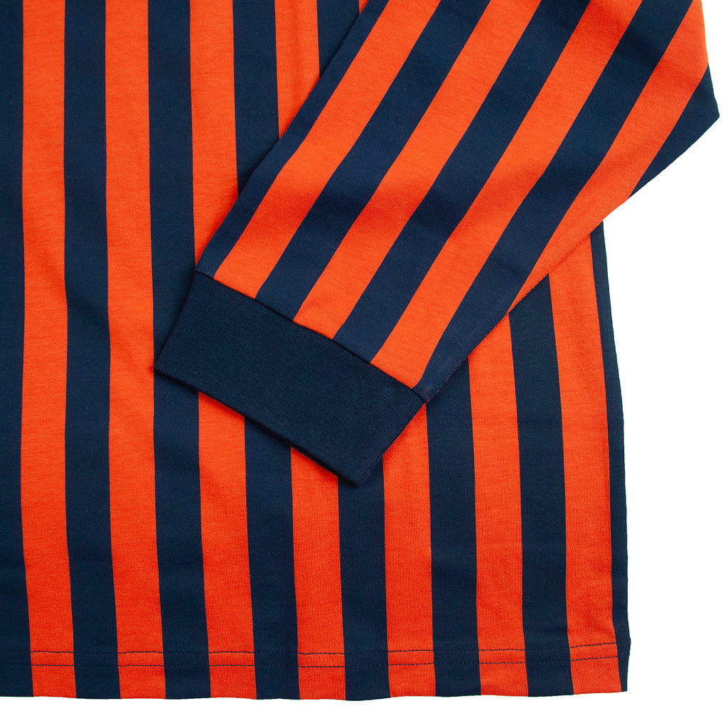 Carhartt WIP L/S Barnett T Shirt in Barnett Stripe Brick Orange / Duck Blue - Cuff